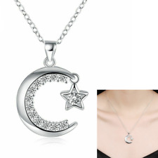 Women 925 Sterling Silver Cubic CZ Crescent Moon And Star Pendant Necklace 18""