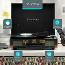 Zennox Briefcase Record Player Turntable Portable 3 Speed Vinyl Suitcase