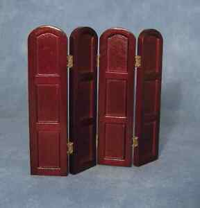 1/12th SCALE DOLLS HOUSE MAHOGANY  WOODEN 4 PANEL SCREEN