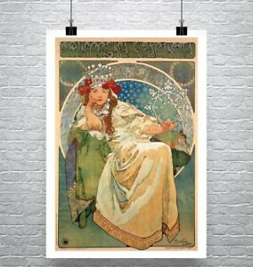 Princess Hyacinth 1911 Alphonse Mucha Poster Fine Art Print on Canvas or Paper