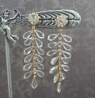 Vintage Long Dangling Clear Open Back Glass Rhinestone Gold Tone Clip On Earring