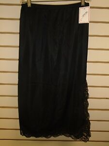 "Ventura Plus Size Nylon Half Slip 29"" Long - 3X BLACK (Side Slit) #7746 - NWT"