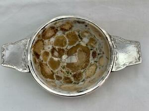 Superb Antique Scottish Polished Agate & Silver Twin Handled Quaich.