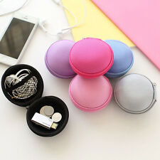 Storage Bag Carrying Round Hard Hold Case For Earphone Headphone Earbuds SD Card