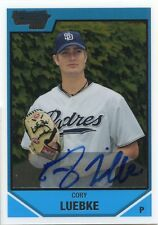 2007 Bowman DP&P Chrome Cory Luebke On Card Autograph Padres Buckeyes