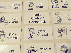 29 Laminated Preschool Daily Routines Flashcards.  Black and White Word Wall Fla