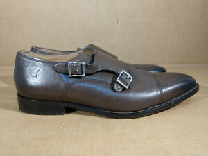FLORSHEIM Montinaro 9.5 D Brown Double 2 Monk Strap Oxford Cap Toe Buckle Shoes