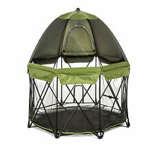 """Carlson Pet Products Deluxe Green Eight Panel Pet Pen with Canopy, 62"""" L X 62"""" W"""