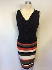 KAREN MILLEN BLACK DRAPED TOP WITH STRETCH STRIPED SKIRT DRESS SIZE 2 UK 10
