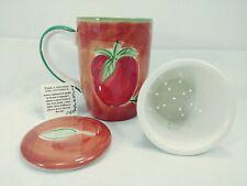 April Cornell Porcelain Tea Cup Mug,  Lid & Removable Strainer infuser Apples