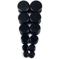 V143 Black Steel Fake Cheaters Illusion Faux Flat Plugs 4G 2G 0G 00G 7/16 1/2""
