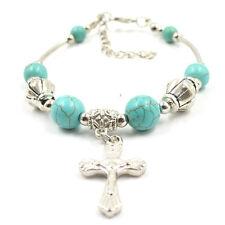 Fashion Jewelry Tibetan Silver Pld Bracelet  Turquoise Bead Adjust Cross Bangle