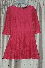 Topshop Petite Ladies Lined Lace, Pink Skater Dress ~ Size 8