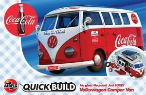 Airfix J6047 Coca-Cola VW Camper Bleu Modèle Auto, Quick Build - Rupture