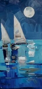 JOSE TRUJILLO Oil Painting IMPRESSIONISM COLLECTIBLE SEASCAPE SAILBOATS MOON NR