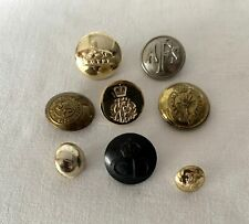 8 x Mixed Vintage Brass + Bakelite Military / Police & Other Buttons #LB1