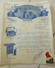 ancienne publicite facture l'incandescence rechaud lanterne lampe essence petrol