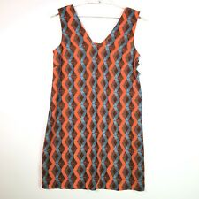 Halogen Womens Shift Dress Short Orange Blue Brown Size Large