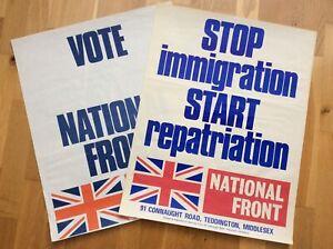 2x Original 1977/78 NATIONAL FRONT POSTERS NF BNP BUF Nazi Fascist SKINHEAD PUNK