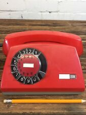 """Vintage Rotary Telephone """"Aster"""" Made in Poland Red Retro Desk Phone"""