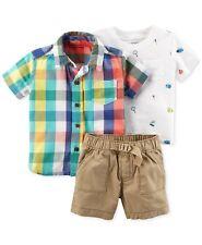 Carters Baby Boys Plaid Shirt Bug Tee & Shorts 3 PC Set