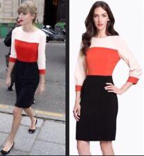 Kate Spade Pink Red & Black Parker Color block Shift Dress Size 2