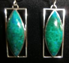 CHRYSACOLA PIERCED  HOOK EARRINGS RECTANGLE STG SILVER  NEW NOT BOXED