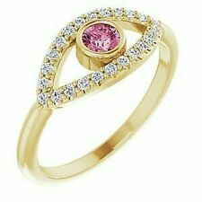 Pink Tourmaline & White Sapphire Evil Eye Ring In 14K Yellow Gold