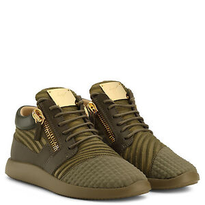 Giuseppe Zanotti Trainers - Khaki Green with Gold Plaque and Zip - REDUCED