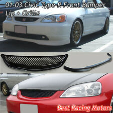 TR Style Front Lip (Urethane) + TR Style Grill (ABS) Fit 01-03 Honda Civic 2/4dr