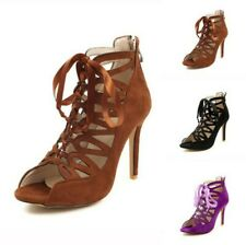 Roman Women's Hollow Out Peep Toe Lace Ups Stilettos High Heel Summer Sandals D