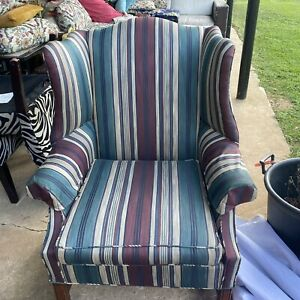 Mid Century Modern Wing Back Multicolored Striped Club Chair