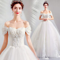 Elegant Lace Off Shoulder Pearl Beaded Plus Size Bridal Gown Wedding Dress