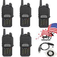 5Pcs Baofeng GT-3WP VHF/UHF Walkie Talkie Waterproof Two way Radio IP67 + Cable