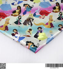 Disney Princesses heat transfer Satin fabric textile for Sewing - 50x140CM