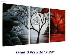 LARGE 3x Panel Landscape Painting Red Black Cloud Tree Modern Pic Frame Wall Art