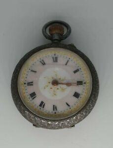Beautiful Antique Silver Ladies Pendant Pocket Watch gilt enamel George Stockwel