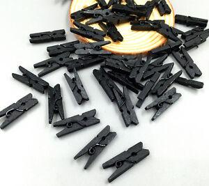 50/100pcs Mini Wooden  Black Clothe Photo Paper Peg Clothespin Craft Clips 25MM