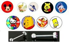 9 x Logo tongue bars different designs pooh, tigger, bart, mickey etc