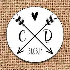 Wedding favour 24 stickers save the date personalised monochrome arrows heart