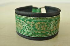 Hundehalsband/Windhundhalsband,grün, echt Leder mit gewebter Bordüre nach Maß