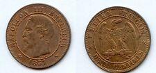 Gertbrolen 2 Centimes en bronze Napoléon III Tête nue 1857 Lille Exemplaire N° 3