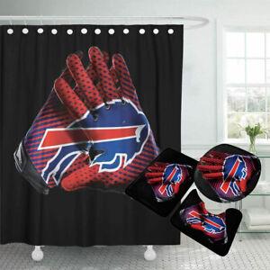 Buffalo Bills Bathroom Rugs 4PCS Shower Curtain Non-Slip Toilet Lid Cover Decor