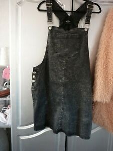 ladies pep and co black denim acid wash pinafore size 22
