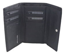 Saddler Leather TriFold Purse Wallet 11 CC Holder Classic Black