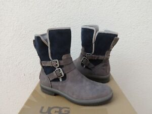 UGG RARE SIMMENS CHARCOAL LEATHER/ WOOL WATERPROOF ANKLE BOOTS, US 7/ EUR 38 NEW