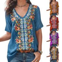 S-5XL Women Boho Short Sleeve V Neck Floral Loose Blouse Casual Top T-shirt