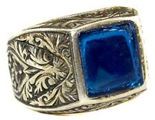 Mens ring blue amber gemstone 925k sterling silver handmade turkish jewelry