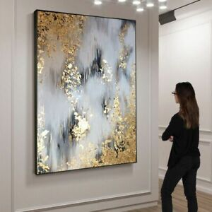 New Hand Painted Modern Abstract Canvas Oil Paintings Gold Oil Painting Picture