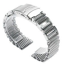 Shark Mesh 316L Stainless Steel Band Link Men Push Button Watch Band Silver 22mm